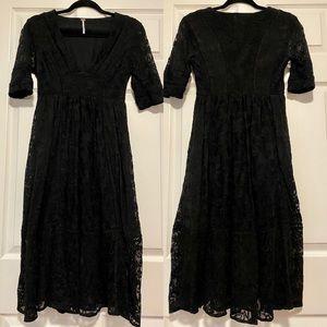 Free People black lace mountain laurel midi dress
